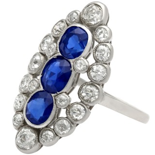 Antique 1.77 ct Sapphire and 1.86 ct Diamond, Platinum Marquise Dress Ring