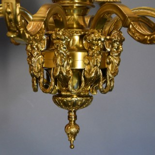 Superb French 19th century eight branch gilt metal chandelier in the Louis XIV style