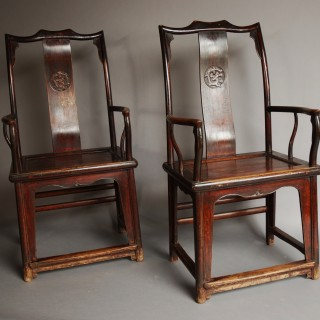 Pair of late 19th century Chinese yoke back elm armchairs of good patina