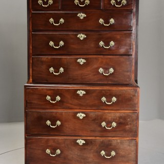 Mid 18th century mahogany chest on chest with superb original patina