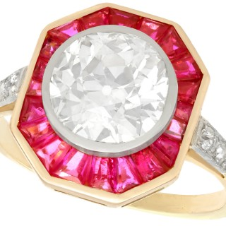 2.10 ct Diamond and 0.88 ct Ruby, 18 ct Yellow Gold Dress Ring - Art Deco - Antique French Circa 1930