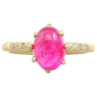 2.68 ct Star Ruby and Diamond, 15 ct Yellow Gold Dress Ring - Vintage Circa 1950