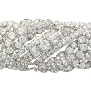 12.64ct Diamond and Platinum Brooch - Art Deco - Antique Circa 1935
