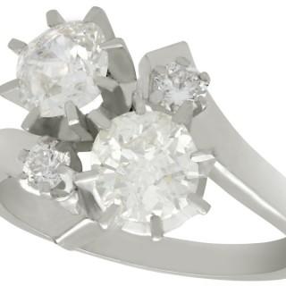 1.61ct Diamond and 18ct White Gold Twist Ring - Vintage Circa 1950
