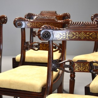 Fine quality set of six Regency rosewood dining chairs with brass inlaid decoration