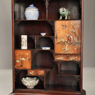 Exquisite French 19thc Japanese style rosewood display cabinet attributed to Gabriel-Frederic Viardot