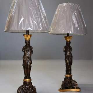 Large pair of 19thc superb quality bronze & gilt bronze table lamps, signed Barbedienne