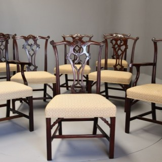 Set of eight late 19th century Chippendale style mahogany dining chairs