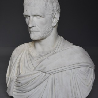 Superb & rare 19th century larger than life marble bust of 'The Capitoline Brutus', after the Antique
