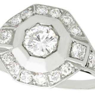 0.94 ct Diamond and Platinum Dress Ring - Art Deco - Vintage Circa 1940