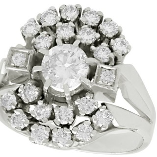 1.55 ct Diamond and 14 ct White Gold Cluster Ring - Vintage Circa 1970