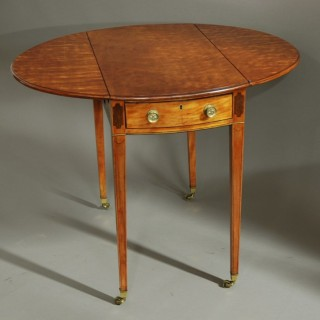 Fine quality late 19th century oval satinwood pembroke table