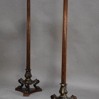 Superb pair of Regency style bronze & mahogany torcheres in the manner of George Smith or Thomas Hope