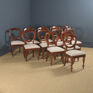 Antique English Victorian Set of 12 Twelve Mahogany Balloon Crown Back Dining Chairs (Circa 1860)