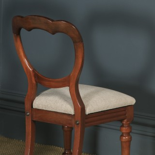 Antique English Victorian Set of 12 Twelve Mahogany Balloon Crown Back Dining Chairs (Circa 1860)
