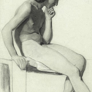 Life drawing of a Seated Male Nude