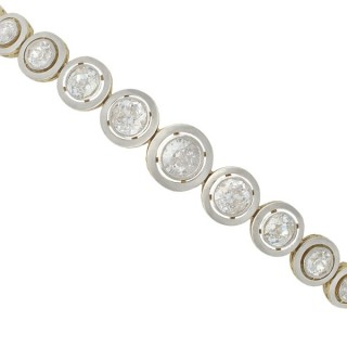 4.19ct Diamond and 18ct Yellow Gold, Platinum Set Bracelet - Antique Circa 1920