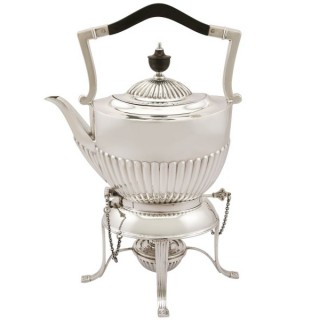 Sterling Silver Spirit Tea Kettle - Queen Anne Style - Antique George V (1913)