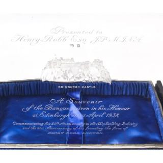 Antique Large Silver Presentation Shipbuilding Cigar Box by Thomas Spicer