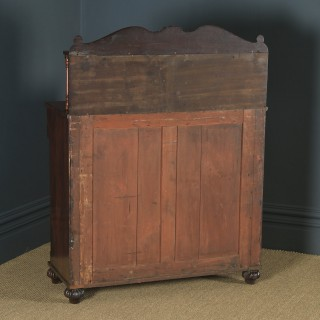 Antique English William IV Flame Mahogany Two Door Chiffonier Sideboard Cabinet (Circa 1835)