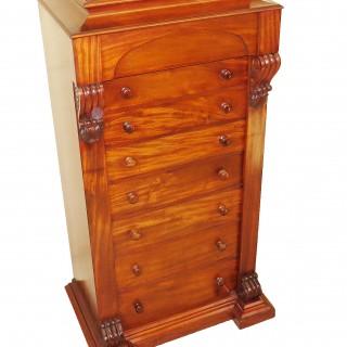Mahogany 19th Century English Wellington Chest Of Drawers
