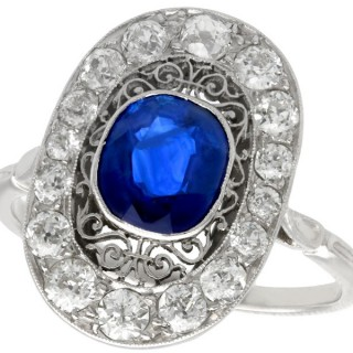 1.43 ct Sapphire and 0.91 ct Diamond, Platinum Dress Ring - Vintage Circa 1940