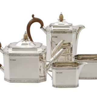 Sterling Silver Four Piece Tea and Coffee Service - Antique George V (1928)