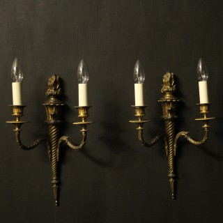 French 19th C Gilded Twin Arm Wall Sconces