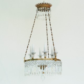 Fine Regency period cut glass and ormolu two tier Chandelier