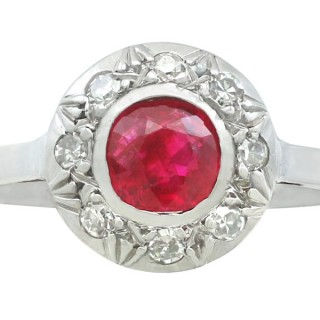 0.62 ct Ruby and 0.20 ct Diamond, 18 ct White Gold Cluster Ring - Antique Circa 1920