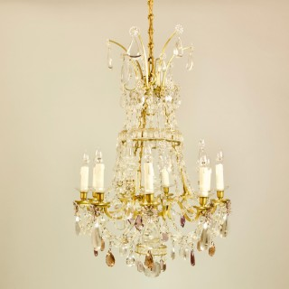 Large French Louis XV Bronze Crystal Chandelier Attributed to Maison Baguès