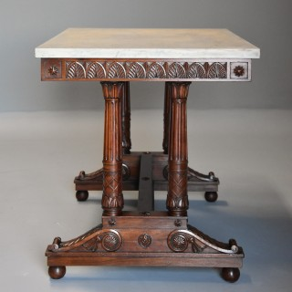 Rare & fine quality French Empire oblong centre table with marble top, stamped 'JACOB'