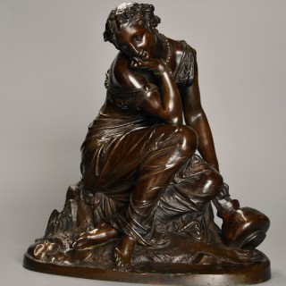 Fine quality 19th century French female bronze 'Reflections' by Alexandre Schoenewerk (1820-1885)
