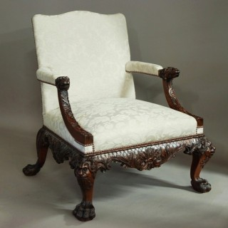 Early 20thc Georgian style mahogany open armchair of superb proportions in the manner of Giles Grendey (1693-1780)