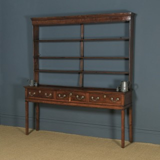 Antique English Georgian Oak Dresser Base Sideboard & Rack (Circa 1780)