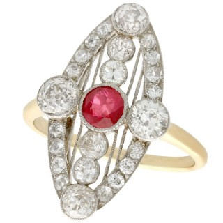 0.62 ct Ruby and 1.88 ct Diamond, 18 ct Yellow Gold Marquise Ring - Art Deco - Antique Circa 1920