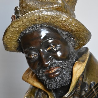 Late 19thc fine quality life size terracotta bust of the 'Banjo Player' After Pietro Calvi (1833-1884)