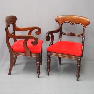 Pair of Scottish Victorian Mahogany Armchairs