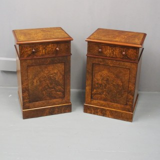 Pair of Victorian Burr Walnut Bedsides or Pedestals