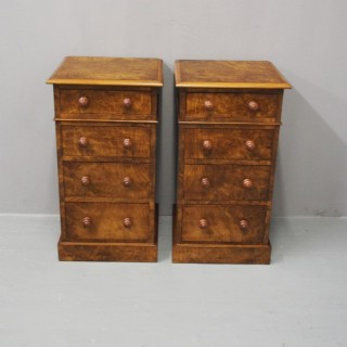 Pair of Walnut and Burr Walnut Bedside Pedestals