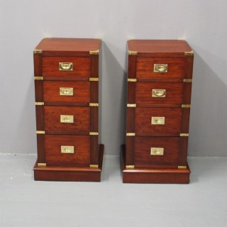 Pair of Mahogany Military Style Pedestals