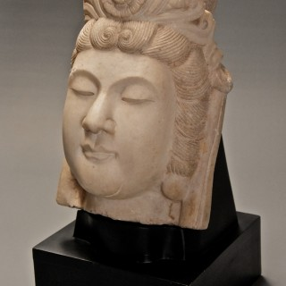 Late 19th century highly decorative carved marble head of Guan Yin