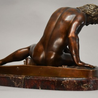 Large late 19th century Grand Tour bronze figure of 'The Dying Gaul'