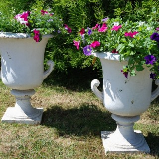 Large pair of 19th century highly decorative cast iron campana shaped urns