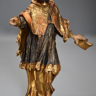 18th century superbly carved polychrome and gilt figure possibly of Saint Peter