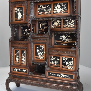 Late 19th century highly decorative large Japanese Meiji period shodana cabinet