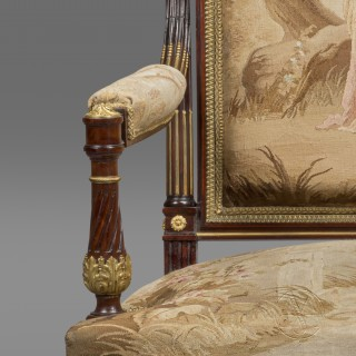 A Pair of Gilt-Bronze Mounted Mahogany and Aubusson Tapestry Upholstered Armchairs