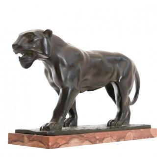 Art deco bronze lioness