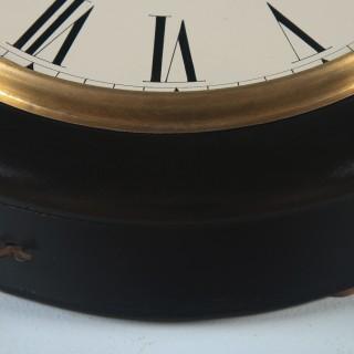 Antique 16″ Mahogany Ansonia Railway Station / School Round Dial Wall Clock (Timepiece)