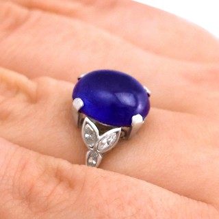 6.80 ct Sapphire and 0.32 ct Diamond, Platinum Dress Ring - Antique Circa 1930